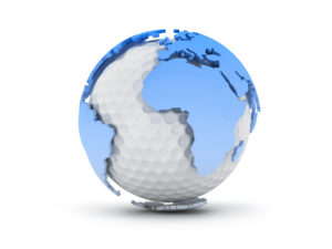 Golf ball and world continents - abstract illustration